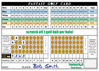 Scratch off golf cards used as fundraisers at charity and corporate golf events.