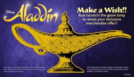 Disney used Scratch Off Works to print their scratch off cards to promote their Aladdin merchandise sales.