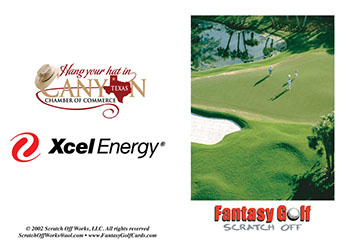 Customize our 18 hole golf card with logos and charity information.