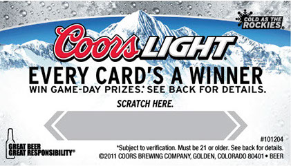 Custom scratch off cards for Coors Light that were used as a game day promotion for a sports team.