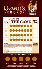 Scratch off trivia game used by Dewars as an interactive contest.