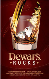 Custom scratch off printing used by Dewars for a bar promotion.
