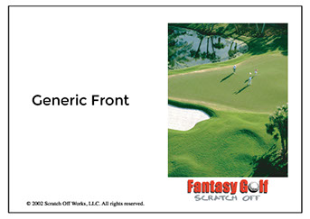Sample of our generic 18 hole Fantasy Golf Card.