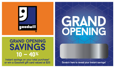 grand store opening scratch off cards for Goodwill