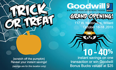 Goodwill Industries used our scratch off cards as a retail promotion over Halloween to promote their stores.