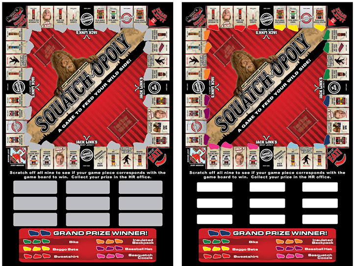 We can design and print a scratch off game for you with custom scratch off shapes, prizes, and graphics.